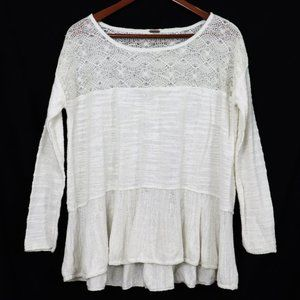 Free People | White Seashell Knit Long Peplum Top